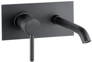 Delo - miscelatore da lavabo a parete con piastra unica - TONDA nero cod. 3021014